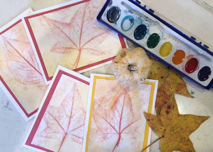 Leaf Rubbings Cards
